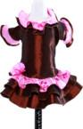 Brūna krāsas suņu kleita ar rozā